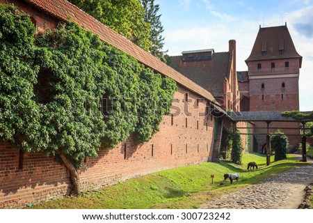 MALBORK, POMERANIA, POLAND - July 22, 2015: The wall and the tower of the castle of the Teutonic Order in Malbork (Marienburg) Pomerania region - stock photo