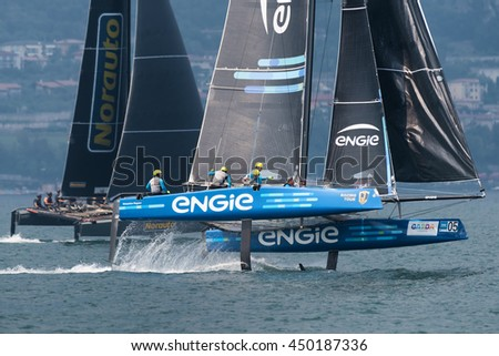 MALCESINE, ITALY - JULY 10: race canceled on the last day of GC32 Malcesine cup competition, during the foiling week 2016 on Garda lake. on july 10, 2016 in Malcesine, Italy. - stock photo
