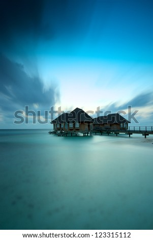 Maldives bungalows - stock photo