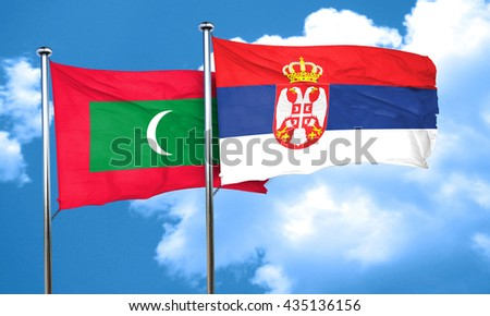 Maldives flag with Serbia flag, 3D rendering