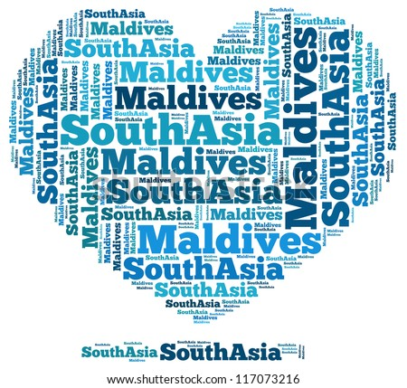 Maldives info-text graphics and arrangement concept on white background (word cloud) - stock photo