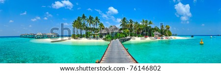 Maldives island Panorama - stock photo