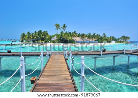 Maldives island view from bungalows - stock photo