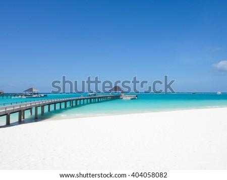 Maldives resort bridge. Water Bungalow, Water Villa - stock photo