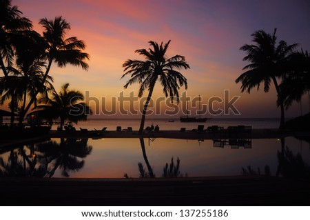 Maldives sunset - stock photo