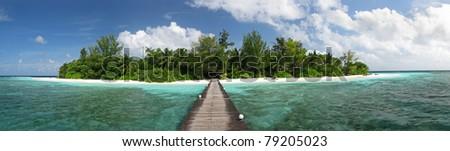 Maldivian Island landscape (Bathala) - stock photo