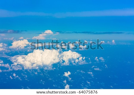 Maldivian Scattered Clouds Seen from a Plane - stock photo