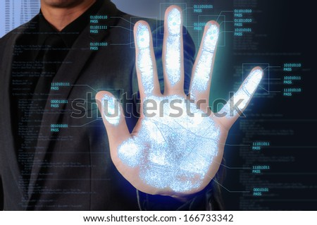 Male access system by palm - stock photo