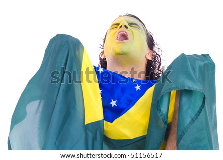 Male Adult Brazilian Supporter holding a flag . - stock photo
