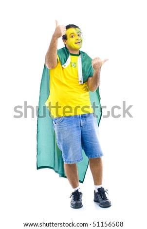 Male Adult Brazilian Supporter with the flag . - stock photo