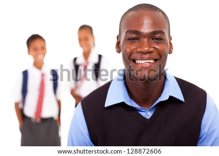 male african american school teacher and students
