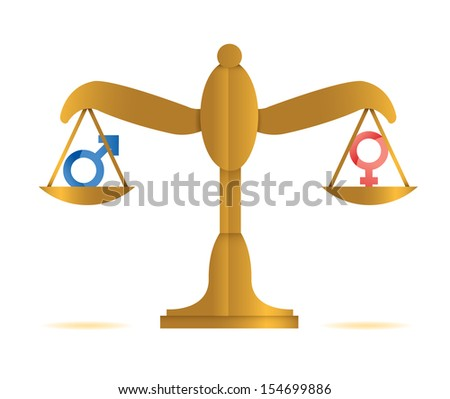 male and female balance illustration design over a white background - stock photo