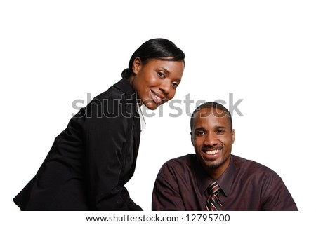 Male and female businesspeople smiling at the camera. Isolated on white. Horizontally framed shot
