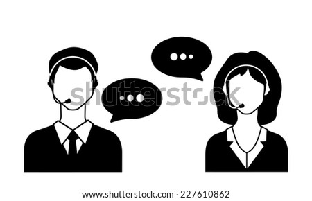 Male and female call avatar icons with a faceless man and woman wearing headsets with speech bubbles.  - stock photo