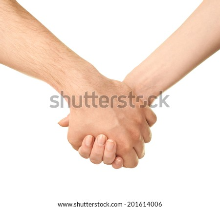 Male and female caucasian hands romantically holding each other isolated over the white background