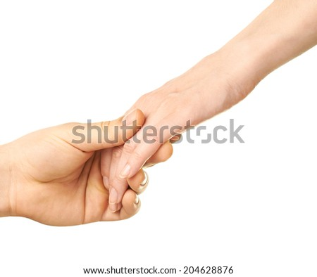 Male and female caucasian hands romantically holding each other isolated over the white background - stock photo