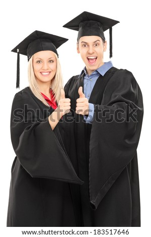 Male and female college students giving thumbs up isolated on white background - stock photo