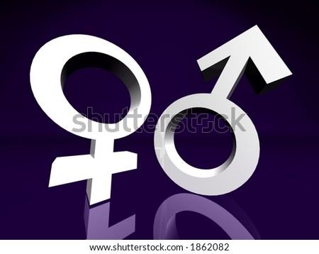 Male and Female Couple Symbol - stock photo