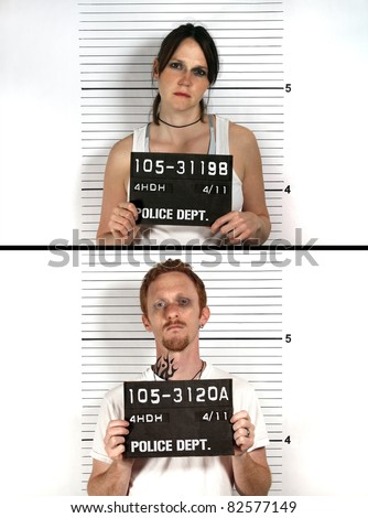 Male and Female Criminal Mug Shots - stock photo
