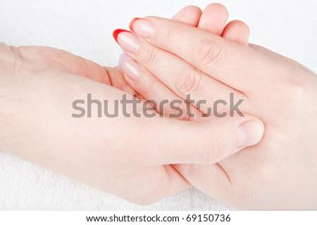 male and female manicure - stock photo