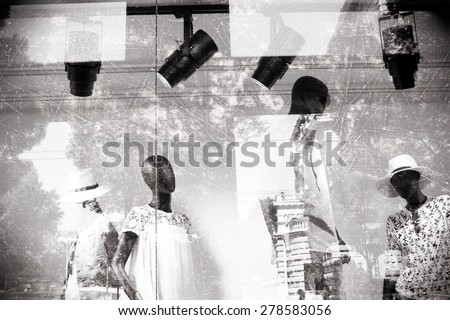 Male and female mannequins, black and white effect, fashion store, with natural double exposure and grunge effect - stock photo