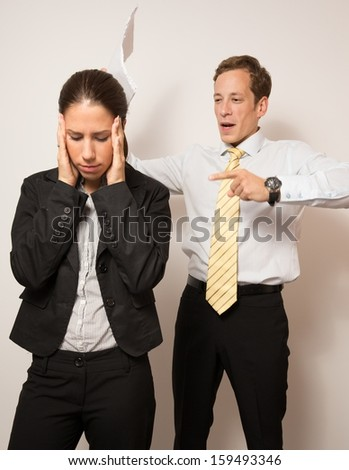 Male and female model(business dressed),in different office scenarios. - stock photo