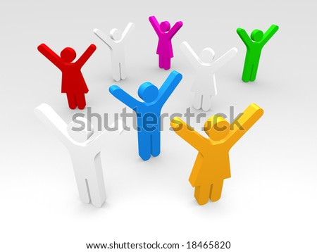 male and female pictograms expressing joy - stock photo