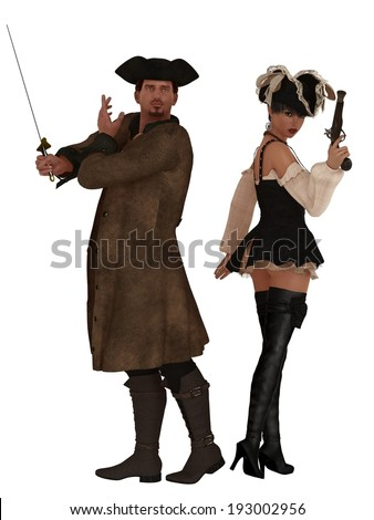 Male and female pirates back to back with weapons ready - stock photo
