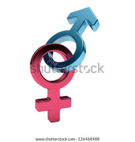 male and female sex symbols, purple and blue, isolated over white background