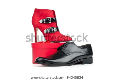 Male and female shoes on white - stock photo