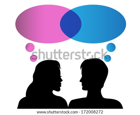 Male and female silhouettes with bubbles of thought on a white background - stock photo