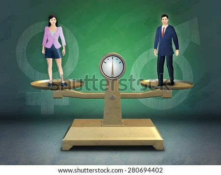 Male and female standing on a balance scale. Digital illustration.