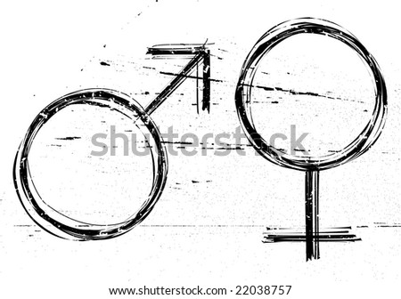 Male and  female symbols on white grunge background. Raster illustrations. - stock photo