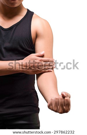 male arm pain isolated white background with clipping path - stock photo