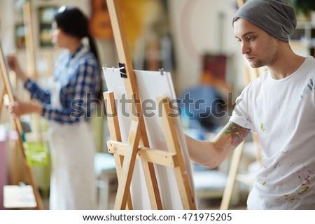 white shirt paint male artist dressed beanie hat white stock photo 471975205