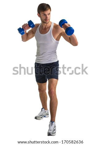 male athlete doing exercise with dumbbells in hand