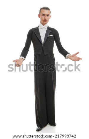 male ballroom dancer standing on white background - stock photo