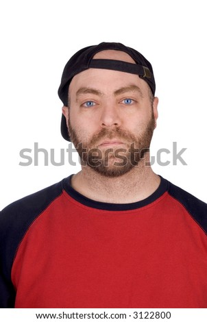 Male baseball fan with baseball hat and t-shirt, over white - stock photo