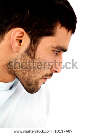 male beauty face isolated over a white background