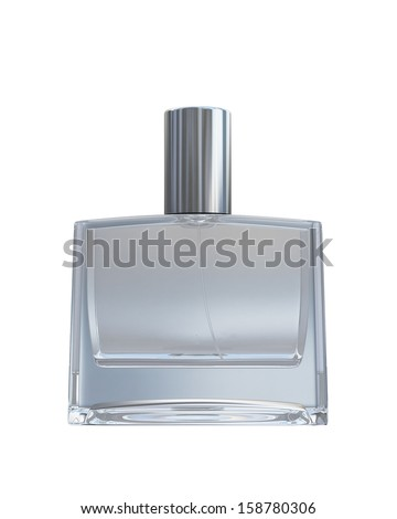 Male blank perfume bottle isolated on white background