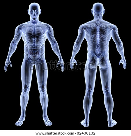 male body under X-rays. isolated on black - stock photo