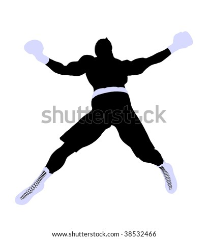 Male boxing art illustration silhouette on a white background