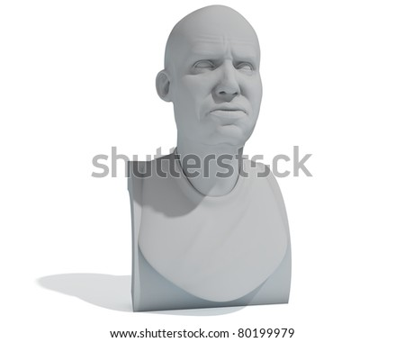 male bust isolated over white - stock photo