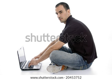 male busy with laptop isolated on white background - stock photo