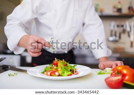 Male chef garnishing dish at the kitchen - stock photo