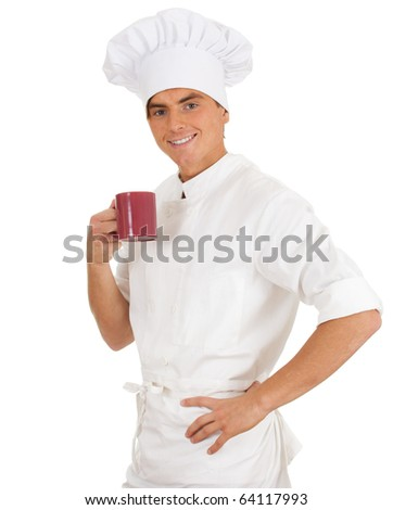 male chef in white uniform and hat with red cup