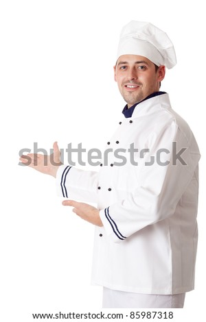 Male chef welcoming. isolated over white background