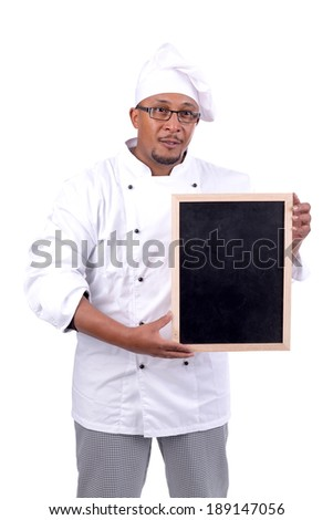 Male chef with black menu board isolated on white background - stock photo
