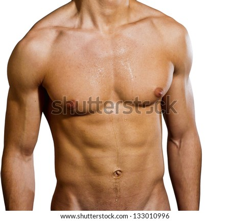 Male chest with sweat