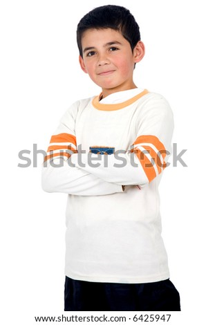 male child portrait isolated over a white background - stock photo